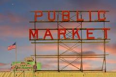offentligt tecken för marknad Arkivbilder