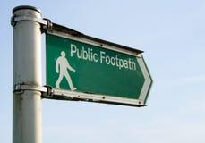 offentligt tecken för vandringsled Arkivbild