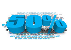 Offer 50. 50 % 3d text done in adobe illustrator Stock Photo