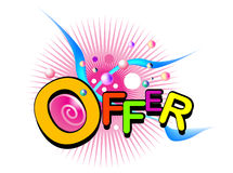 Offer graphic. Offer in colorful text graphics with geometric shapes on white Stock Images
