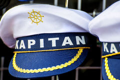 Offer of captain hats Royalty Free Stock Photography