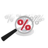 Offer check. Percent symbol with an magnifying glass Royalty Free Stock Image