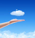 Offer A Cloud Concept. Woman hand offer the cloud against blue sky with clouds. Concept image on cloud computing and ecology theme with copy space Royalty Free Stock Photo
