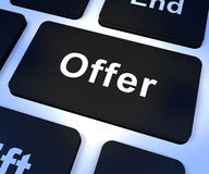 Offer Computer Key Showing Discounts Reductions Or Sales. Offer Computer Key Shows Discounts Reductions Or Sales Stock Photos