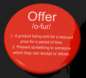 Offer Definition Button Showing Discounts Reductions Or Sales Royalty Free Stock Photography