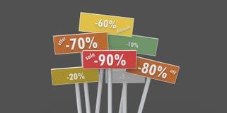 Offer discount off sale 90 80 70 20 60 10 5 percent indicators. Minimal Stock Photo
