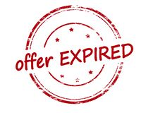 Offer expired. Rubber stamp with text offer expired inside,  illustration Royalty Free Stock Images
