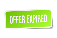 Offer expired square sticker. On white Stock Photo