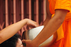 Offer food to monk on early morning. Thailand Royalty Free Stock Image