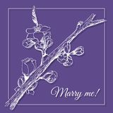 Offer of marriage card on ultraviolet background in vector EPS8. Offer of marriage card with white graphic blossomed tree branch on ultraviolet background in Royalty Free Stock Image
