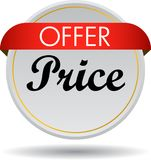 Offer price web button icon. Vector illustration isolated on white background - offer price web button icon Stock Photography