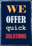 We offer quick solutions Vector business concept royalty free illustration