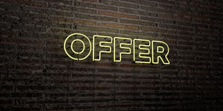 OFFER -Realistic Neon Sign on Brick Wall background - 3D rendered royalty free stock image. Can be used for online banner ads and direct mailers Stock Image