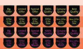 Offer ribbon set, ribbon banner, black ribbon bookmark, vector quality label. Big offer, Limited offer, Special offer, Genuine quality, Best quality, Hundred Royalty Free Stock Images