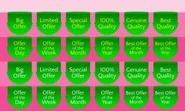 Offer ribbon set, ribbon banner, green ribbon bookmark, vector quality label Royalty Free Stock Photos