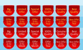 Offer ribbon set, ribbon banner, red ribbon bookmark, vector quality label. Big offer, limited offer, special offer, genuine quality, best quality, hundred Stock Image