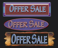 Offer sale. Three banners designed with business sale offer in a black background Stock Images