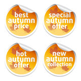 Offer sale  autumn stickers Royalty Free Stock Photo