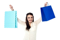 Offer sale is available at all stores. Excited girl holding up her shopping bags Stock Photos