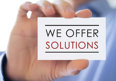 We offer solutions Stock Image