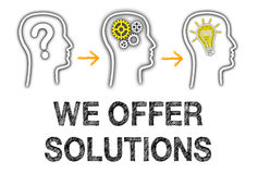 We offer solutions. Illustration of a business ideas thought process with the words we offer solutions on a white background Stock Image