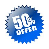 50 offer sticker. Editable vector illustration on isolated white background Royalty Free Illustration