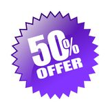 50 offer sticker. Editable vector illustration on isolated white background Stock Image