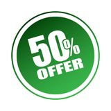 50 offer sticker. Editable vector illustration on isolated white background Stock Photos