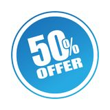50 offer sticker. Editable vector illustration on isolated white background Royalty Free Stock Images