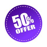 50 offer sticker. Editable vector illustration on isolated white background Royalty Free Stock Photo
