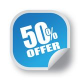 50 offer sticker. Editable vector illustration on isolated white background Stock Photography