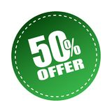 50 offer sticker. Editable vector illustration on isolated white background Royalty Free Stock Image