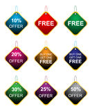 Offer tags. Illustration of offer tags on white background Stock Image