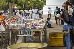 Offer to buddhist monks in Sri Lanka Stock Images