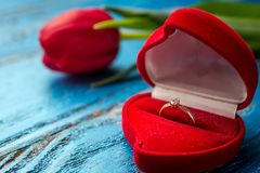 The offer to get married. A gift for St. Valentine`s Day. Marria Stock Photos