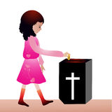 Offering. Girl Offering -Offertory box in church royalty free illustration