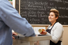 Offering advice on the Deli's best buys Stock Images