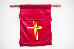 The offering bag of Christianity on white background. Stock Images