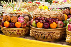 Offering in Bali Hindu temple Royalty Free Stock Photography