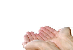 Offering with both hands. Hands together, offering, receiving, holding gesture on white background Stock Photography
