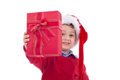 Offering Christmas present Royalty Free Stock Photo