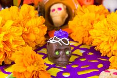 Offering for the dead. Ofrenda del dia de muertos chocolate skull candy royalty free stock image