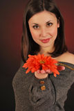 Offering a flower. Young woman portrait with a flower stock images