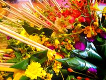 Flowers to worship God. Offering flowers to worship God. Northern Thailand Royalty Free Stock Image