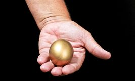 Offering the golden egg: Succes assured! Royalty Free Stock Photography