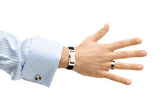 Offering handshake. A hand of a bussines man offering a handshake Stock Photo