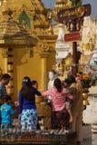 Offering of holy water at planetary post. YANGON, BURMA - FEB 18, 2015 - Offering of holy water at planetary post, name day, shrine, Shwedagon Pagoda Yangon ( Stock Image