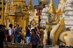 Offering of holy water at planetary post. YANGON, BURMA - FEB 18, 2015 - Offering of holy water at planetary post, name day, shrine, Shwedagon Pagoda Yangon ( Stock Photo