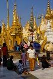 Offering of holy water at planetary post. YANGON, BURMA - FEB 18, 2015 - Offering of holy water at planetary post, name day, shrine, Shwedagon Pagoda Yangon ( Royalty Free Stock Image