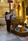 Offering of holy water at planetary post. YANGON, BURMA - FEB 18, 2015 - Offering of holy water at planetary post, name day, shrine, Shwedagon Pagoda Yangon ( Stock Photos